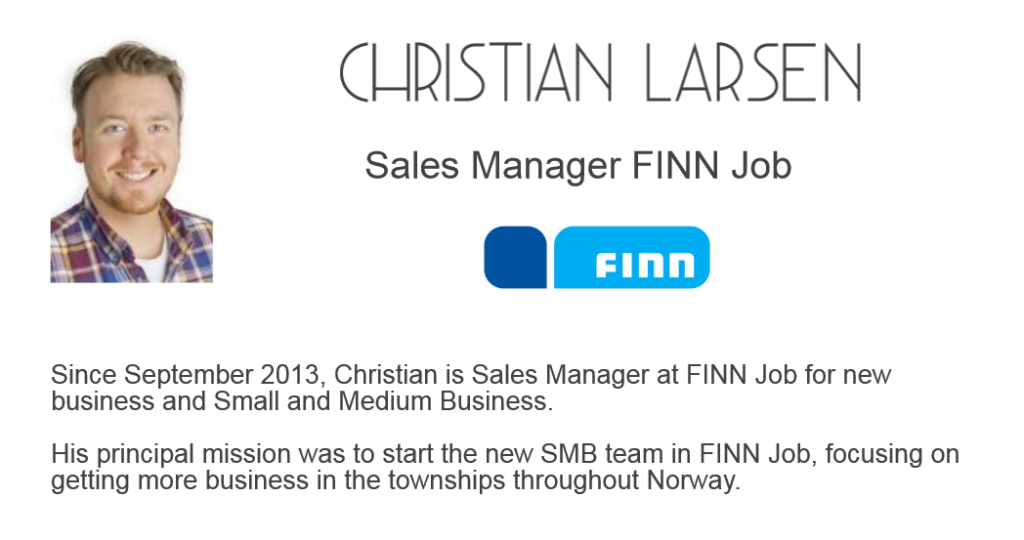 Christian Larsen Sales Manager FINN Job