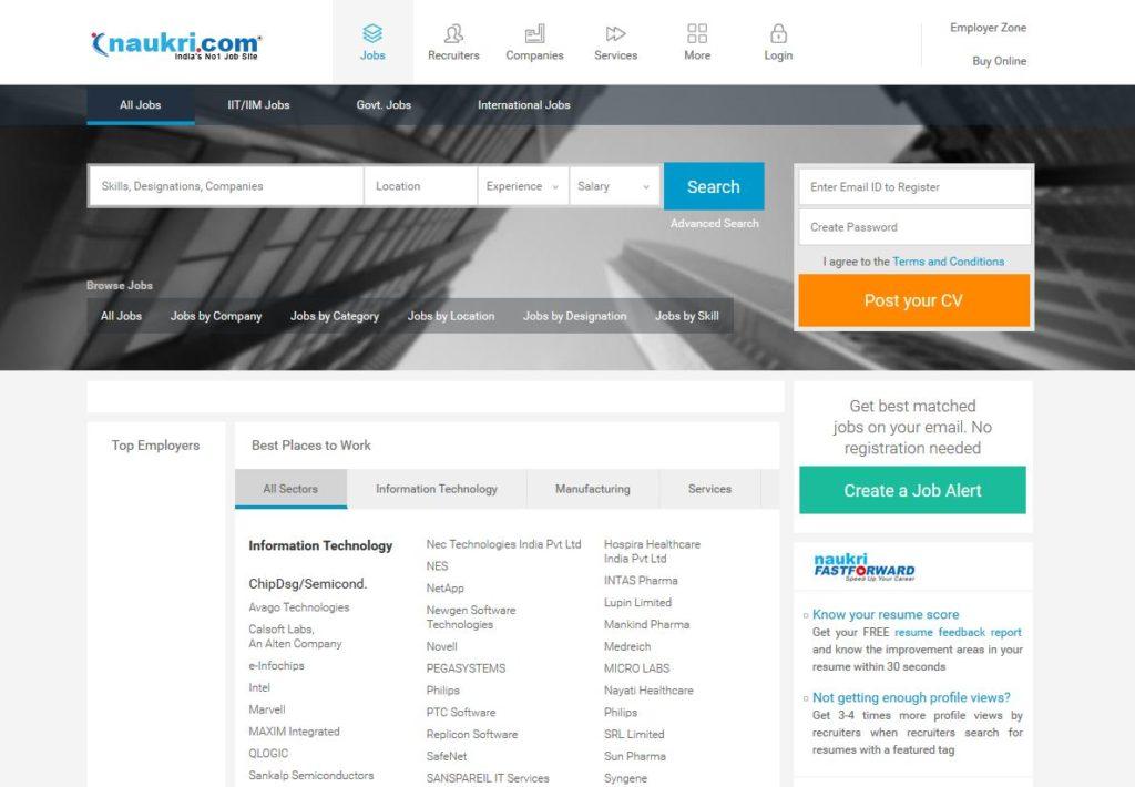 Naukri.com Home Page