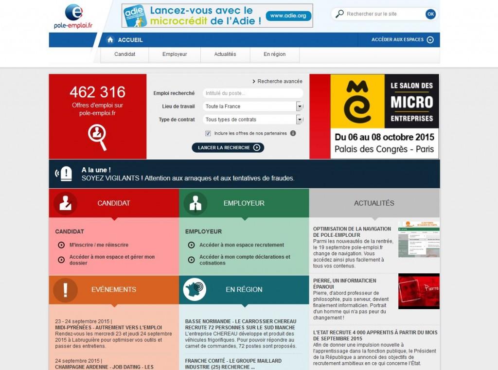 Pôle Emploi Home Page