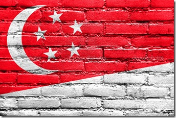 Singapore Flag painted on brick wall
