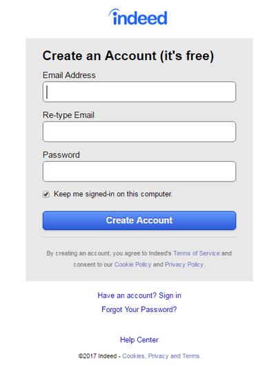 Indeed create an account
