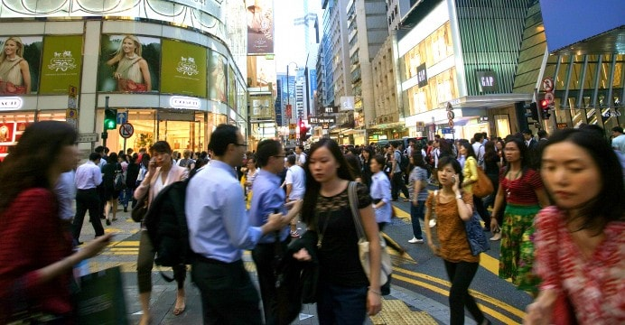 Busy square in Hong Kong