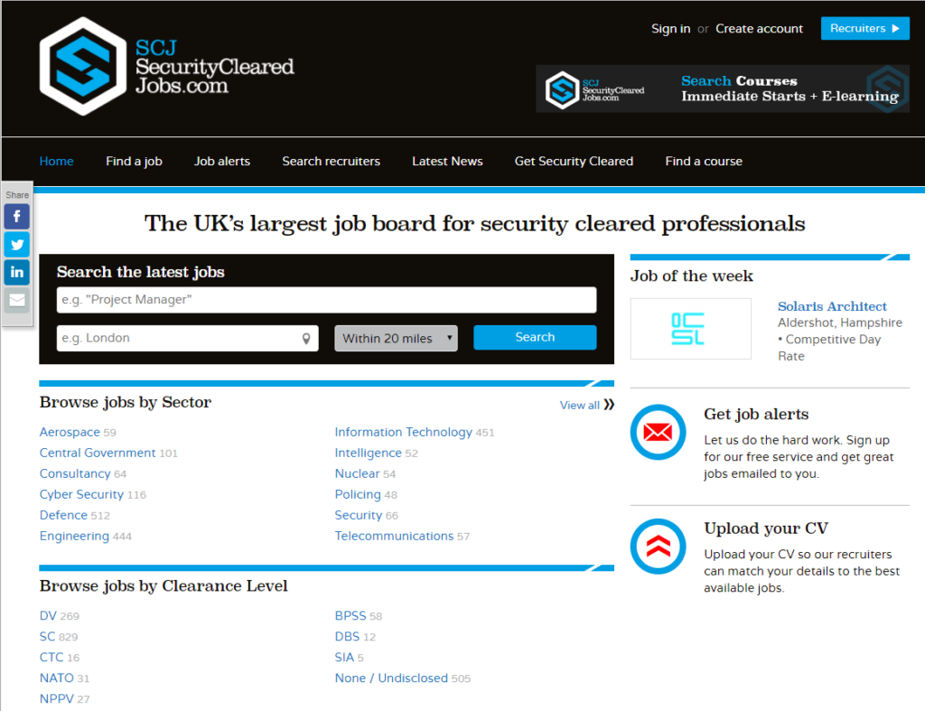 this is the uks largest job board for security cleared professionals and contains information and job opportunities within government and defence sectors